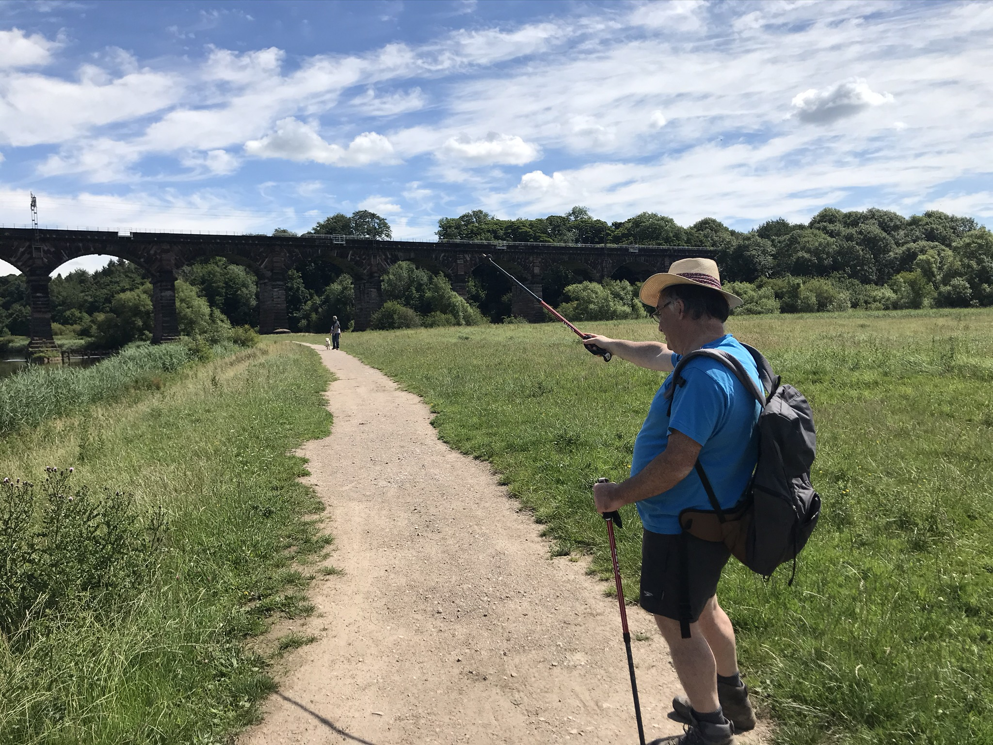A walker points his walking poles at a train travelling along a viaduct