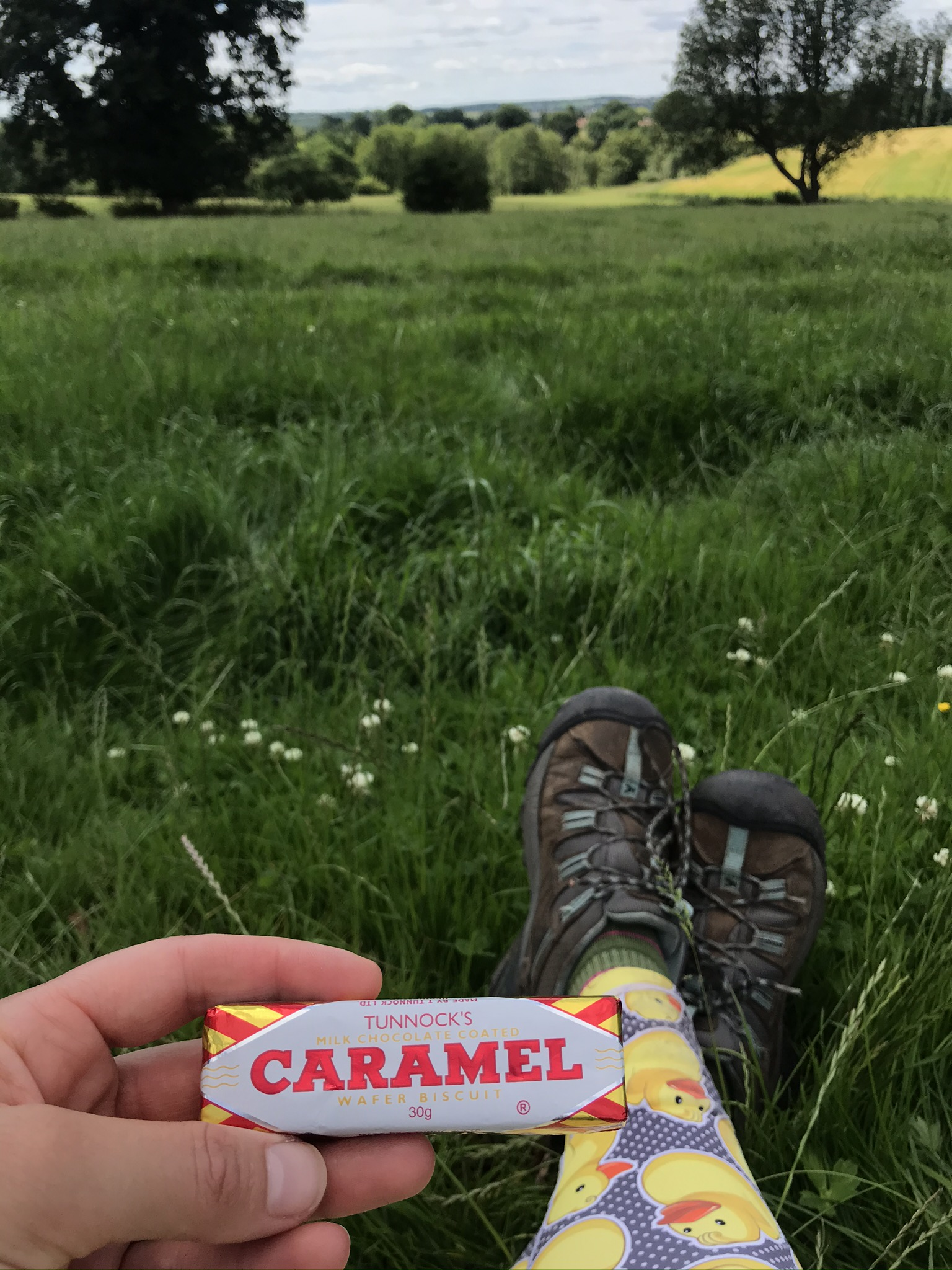 A hand holds a Tunnocks bar, legs are stretched out on meadow grass with a long view over trees