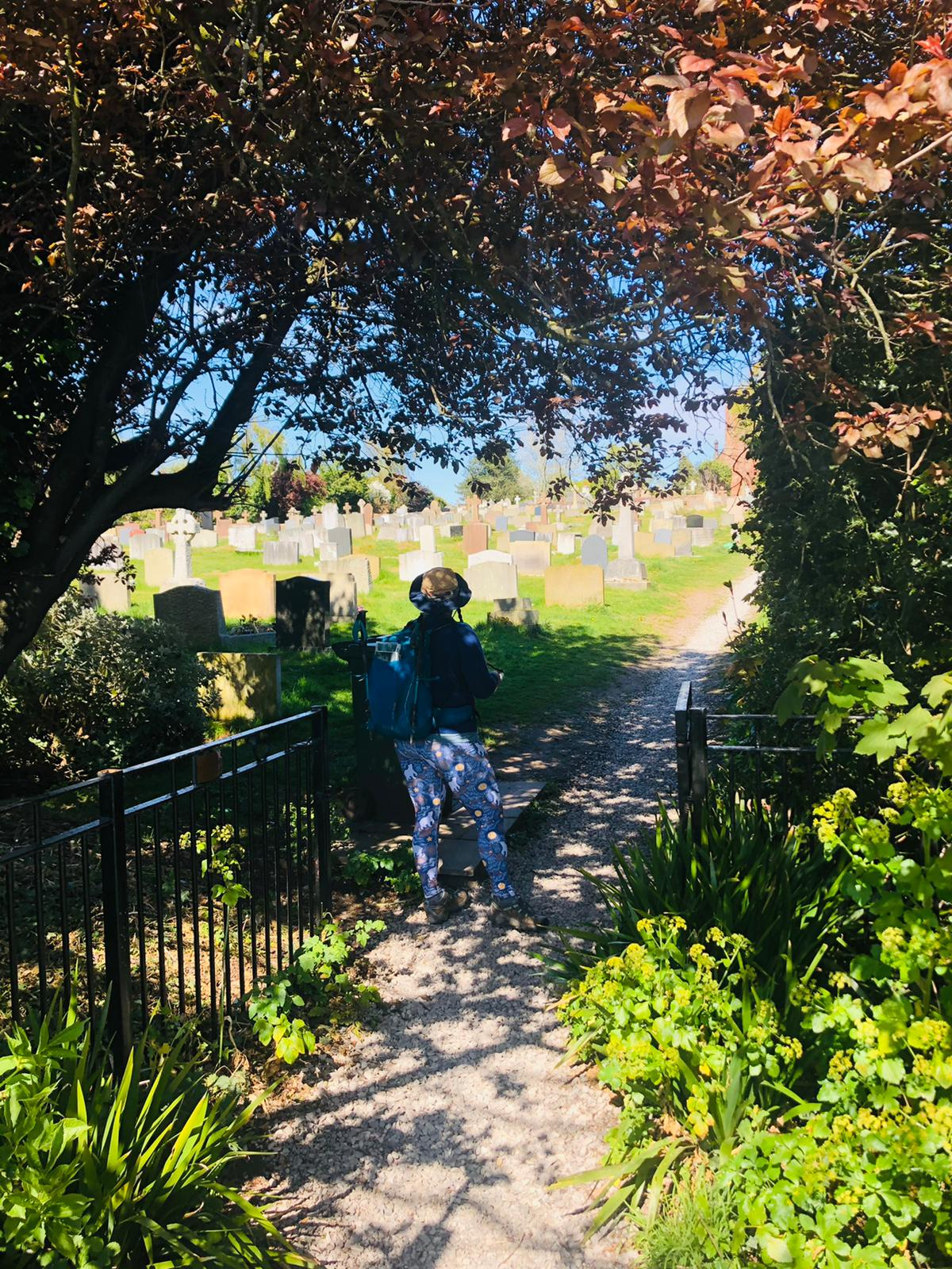 Ellen stands in the shade of an arch of trees. She is looking across a sunlit graveyard