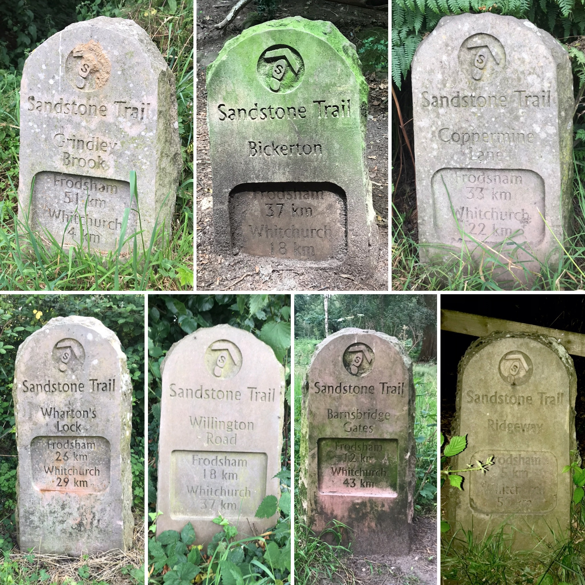 seven stone way marks for the Sandstone Trail, marking the changing distances to Frodsham and Whitchurch